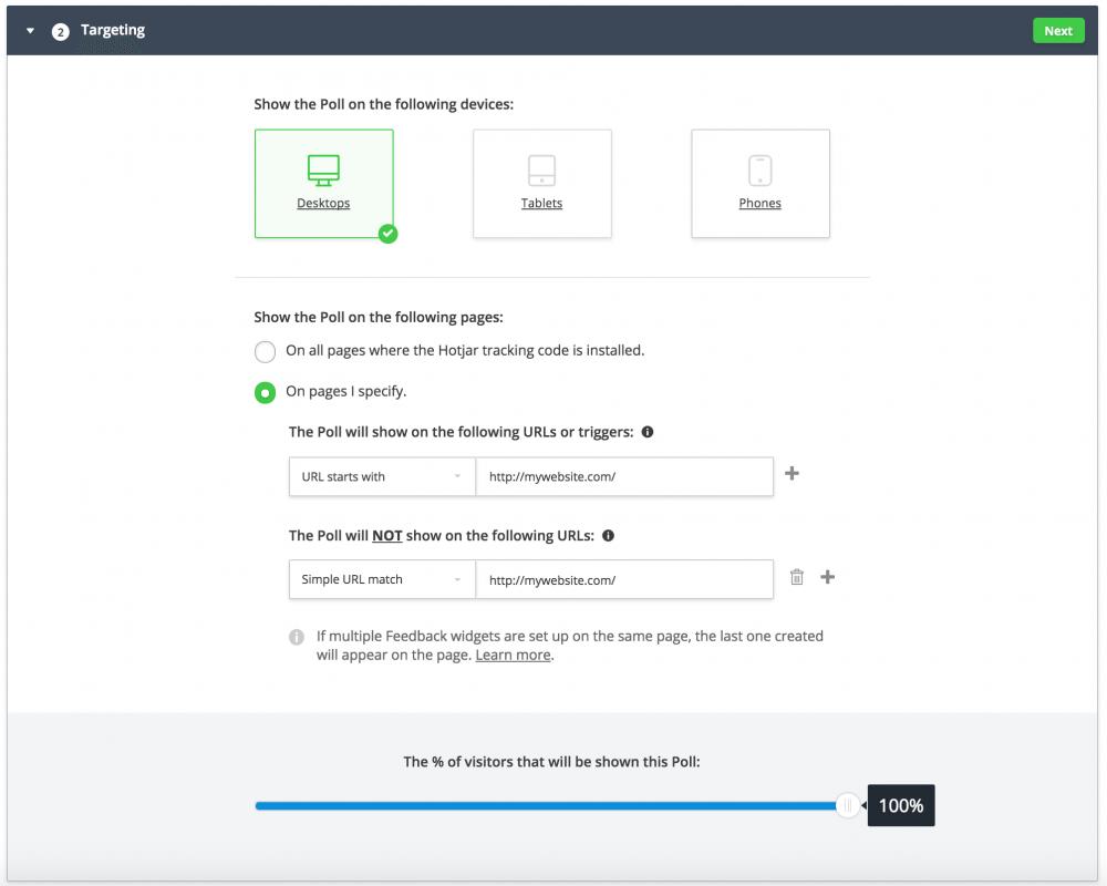 Hotjar Configuration Screen